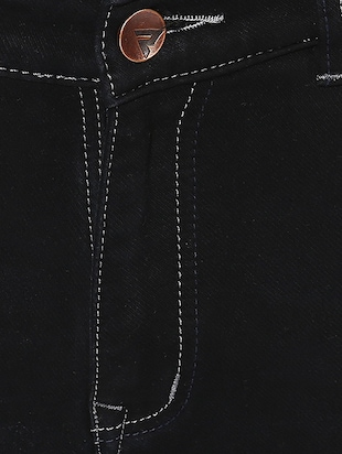 black cotton blend plain jeans - 14433201 - Standard Image - 4