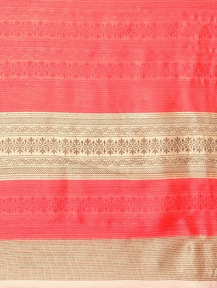 beige cotton silk printed saree with blouse - 14433812 - Standard Image - 4