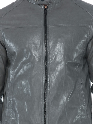 grey faux leather biker jacket - 14435419 - Standard Image - 4