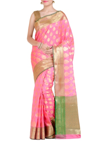 gold paisley pallu banarasi saree with blouse - 14436961 - Standard Image - 1