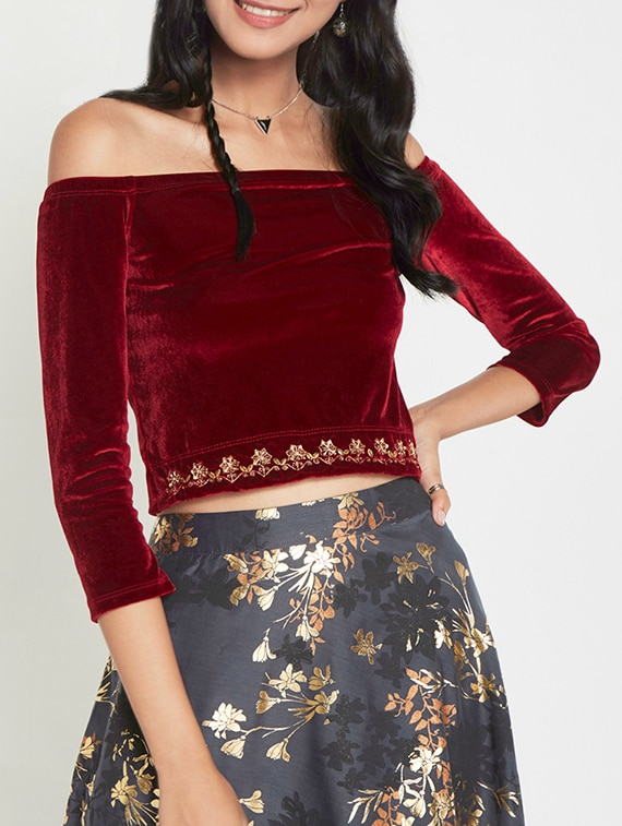 a594fde2c8934a Buy Red Velvet Off Shoulder Top for Women from Global Desi for ₹1164 at 47%  off