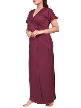 purple colored robe & nighty set - 14455174 - Standard Image - 7