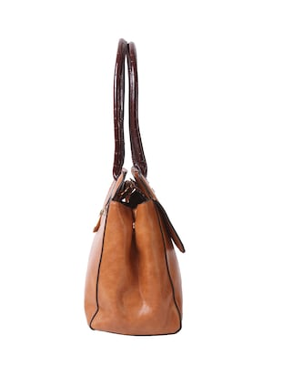 brown leatherette  regular handbag - 14456756 - Standard Image - 4
