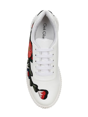 white faux leather plimsolls sneakers - 14457872 - Standard Image - 4