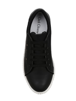 black faux leather laceup sneakers - 14457884 - Standard Image - 4