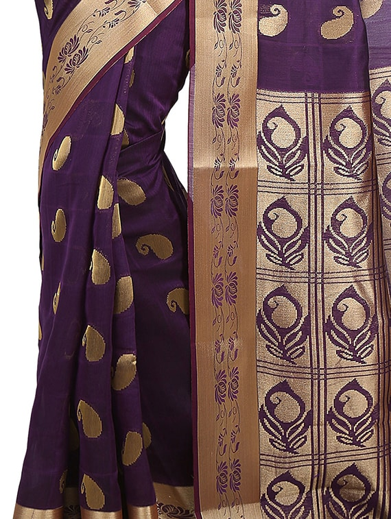 1e64f40b59 Buy Purple Cotton Silk Chettinad Saree With Blouse for Women from Platinum  for ₹4499 at 0% off | 2019 Limeroad.com