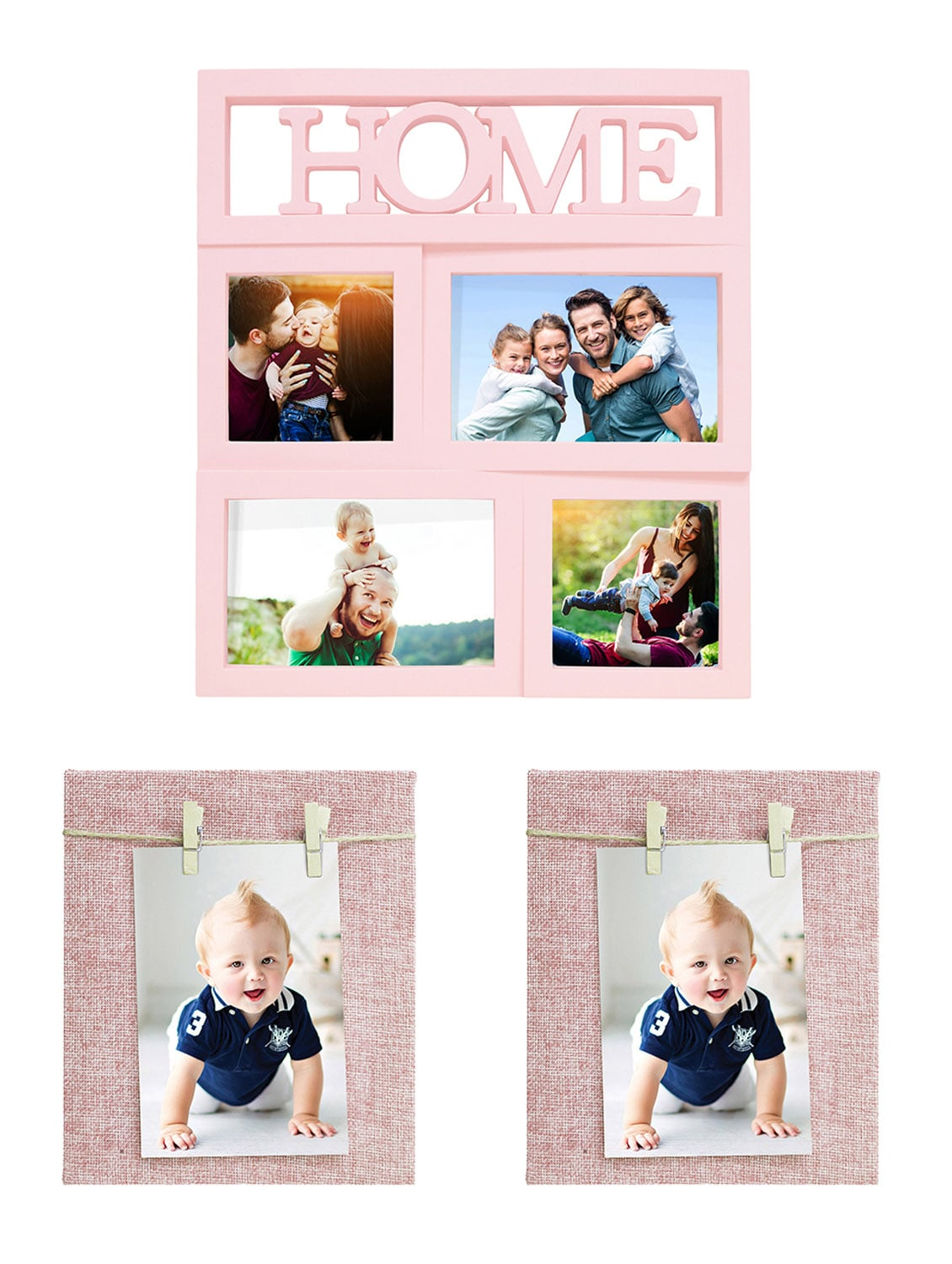 Pack of 3 Wooden Table Top & Wall hanging Frames
