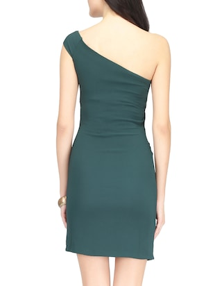 Green single shoulder sheath dress - 14459870 - Standard Image - 4