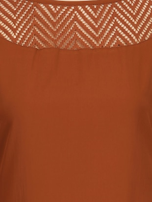 brown crepe highlow kurta - 14461846 - Standard Image - 4