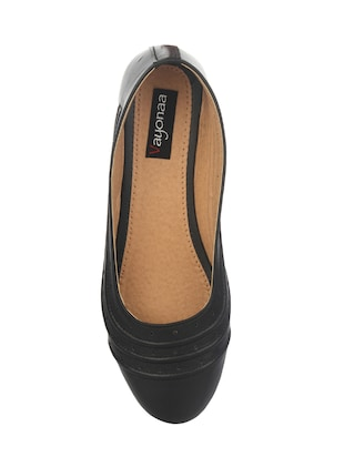 black faux leather slip on ballerina - 14465645 - Standard Image - 4