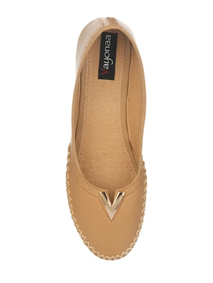 tan faux leather slip on ballerina - 14465649 - Standard Image - 4