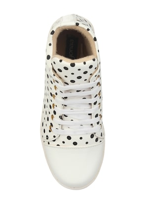 white faux leather laceup sneakers - 14465703 - Standard Image - 4