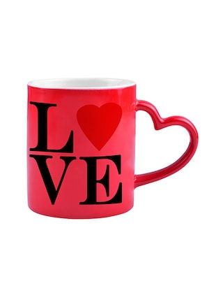 RED HEART SHAPE LOVE DESIGN Printed Color Changing Magic Mug - 14472991 - Standard Image - 4