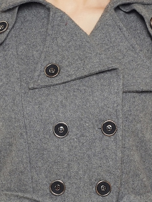 Grey woolen trench coat - 14475061 - Standard Image - 4