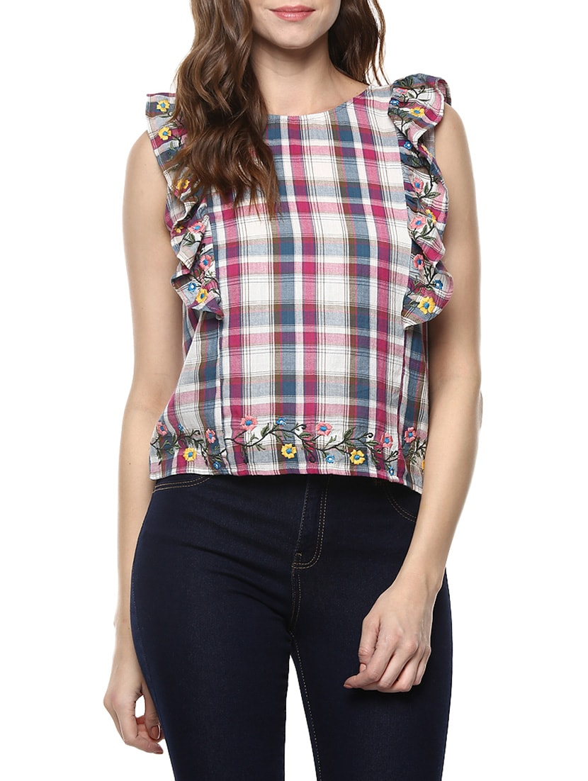 ea32d6b3b03 Buy Miway Pink Cotton Check Top for Women from Miway for ₹886 at 51% off