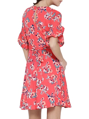 Pink printed A-line dress - 14478373 - Standard Image - 4