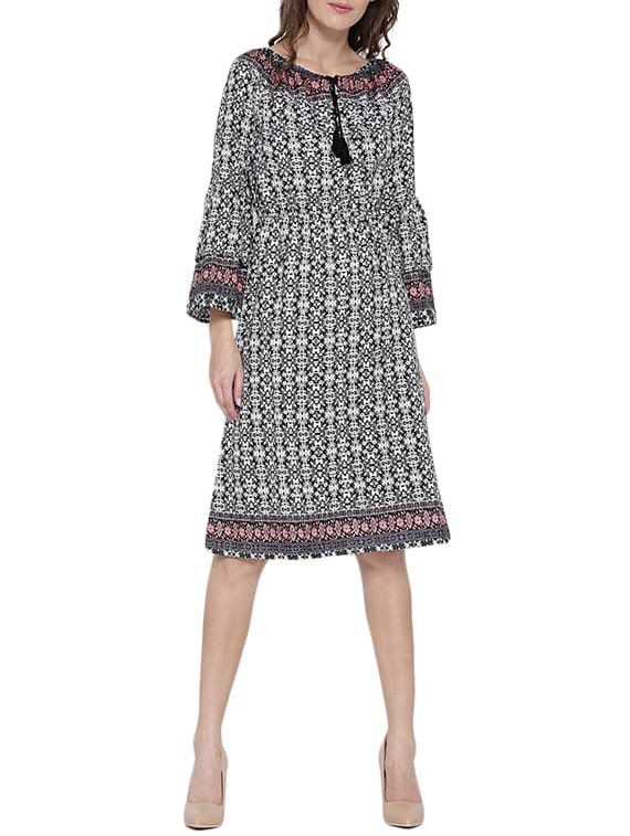 271e0e9f92d Buy Black Printed Fit   Flare Dress by Sera - Online shopping for Dresses  in India