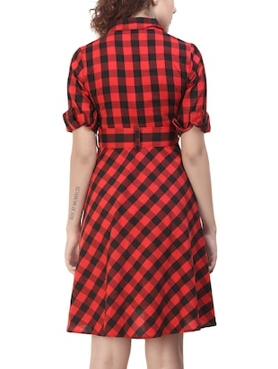 red cotton belted dress - 14478907 - Standard Image - 4