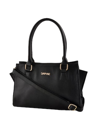 black leatherette  regular handbag - 14479887 - Standard Image - 4