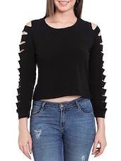 black cotton crop top -  online shopping for Tops