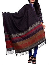 Black wool reversible shawl -  online shopping for shawls