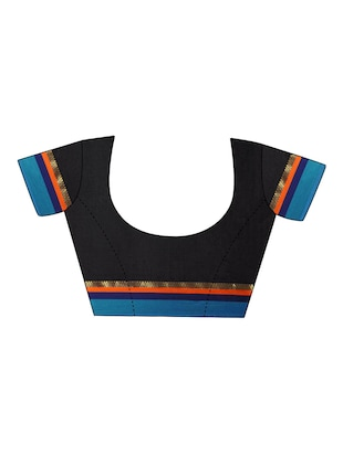 Stripes bordered saree with blouse - 14483370 - Standard Image - 4