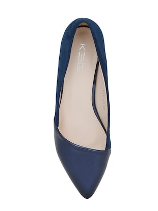 navy faux leather slip on pumps - 14484416 - Standard Image - 4