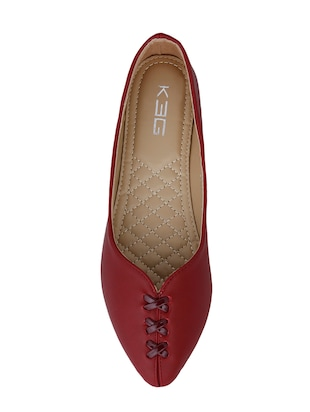 maroon faux leather slip on ballerina - 14484475 - Standard Image - 4