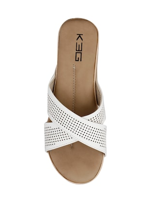 white faux leather slip on wedges - 14484667 - Standard Image - 4
