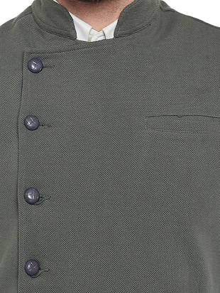 grey cotton nehru jacket - 14485609 - Standard Image - 4