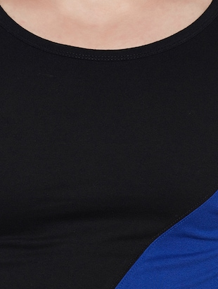 blue and black cotton blend thumb hole  t-shirt - 14485620 - Standard Image - 4
