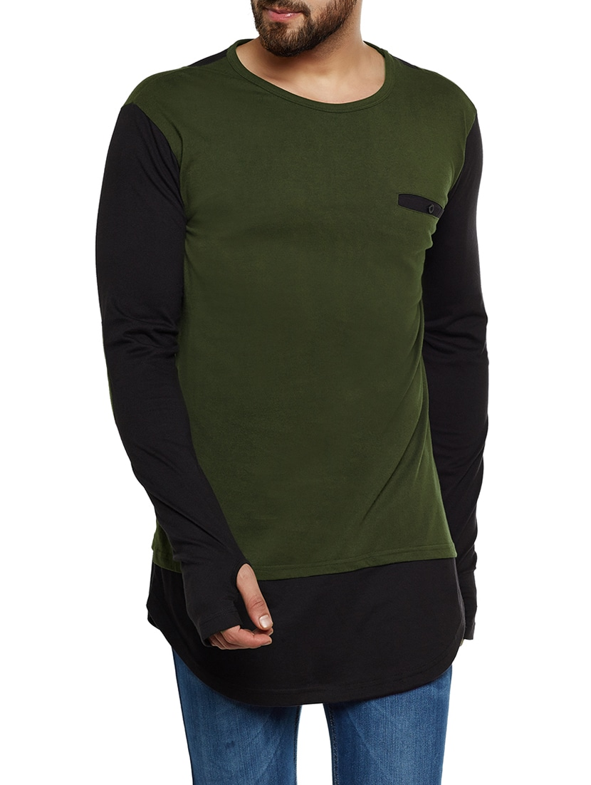 3190fccfd Buy Olive Green Cotton Thumb Hole T-shirt for Men from Hypernation for ₹769  at 22% off | 2019 Limeroad.com