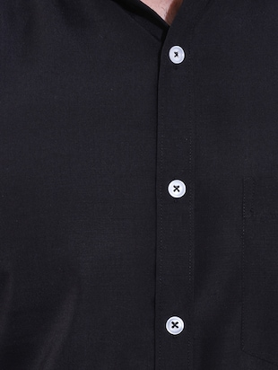 black cotton casual shirt - 14491799 - Standard Image - 4