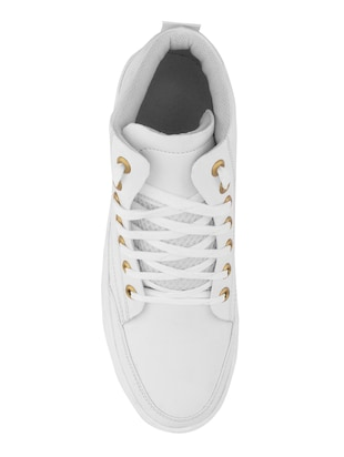 white leatherette sneaker - 14493669 - Standard Image - 4