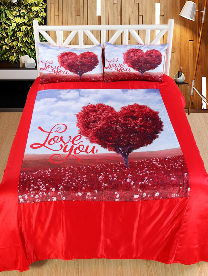 Online Ping For Bed Sheet Love You Print Double Bedsheet With 2 Pillow Covers By