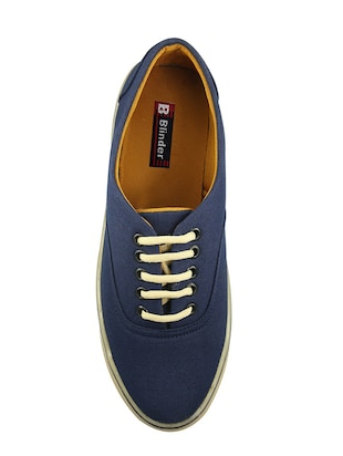 navy Canvas lace up sneaker - 14494478 - Standard Image - 4