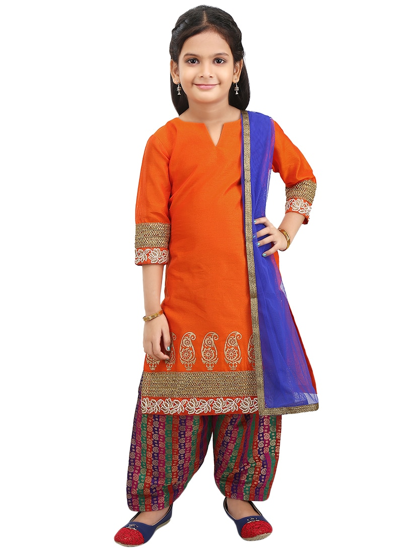 5fa8efbf73 Orange Silk Blend Suit Set