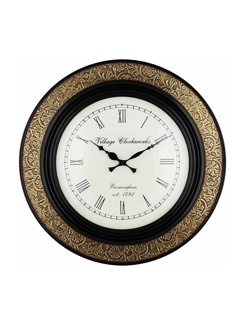 Buy Metallic Wooden Designer Wall Clock by Swagger Online