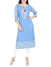 sky blue denim straight kurta -  online shopping for kurtas