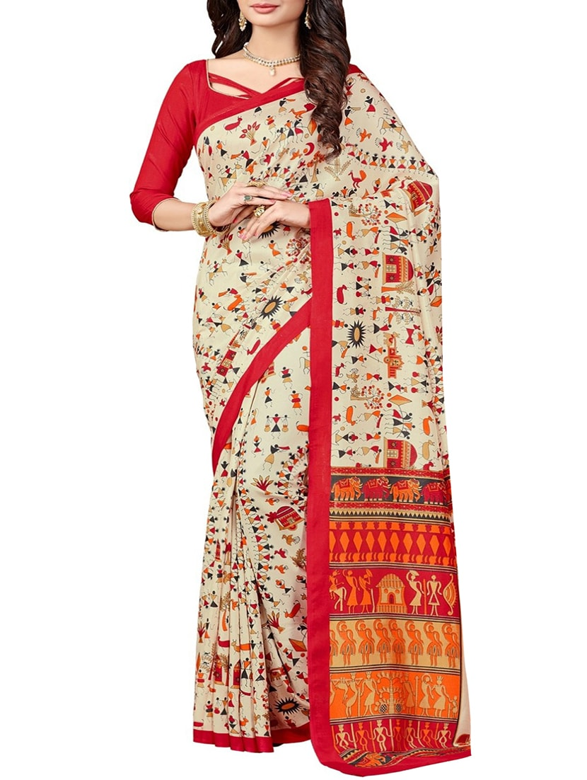 a7f7fc9798e Buy Cream Silk Blend Bhagalpuri Saree With Blouse for Women from Vedant  Vastram for ₹588 at 58% off