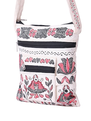 white cotton regular sling bag - 14497294 - Standard Image - 4