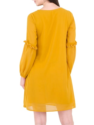 yellow georgette shift dress - 14497413 - Standard Image - 4