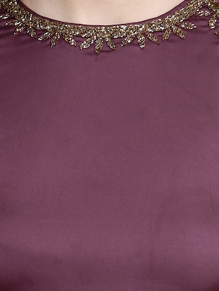 purple poly lycra gown dress - 14497712 - Standard Image - 4