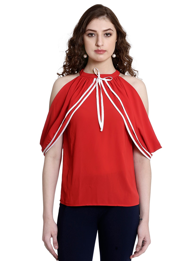 5f2ca2828fc79 Buy Red Cold Shoulder Top for Women from Colormode for ₹1529 at 55% off