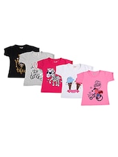 Kuchipoo multi colored cotton regular tees set of 5 -  online shopping for tees & tops