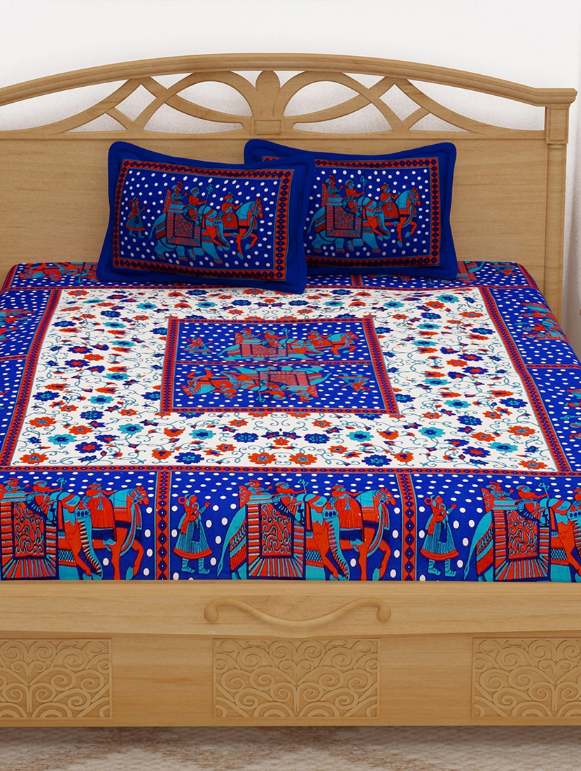 aea1dc2d3ab Buy 152 Tc Pure Cotton Traditional Rajasthani Printed Double Bed Sheet With  2 Pillow Covers for Unisex from Story home for ₹731 at 39% off