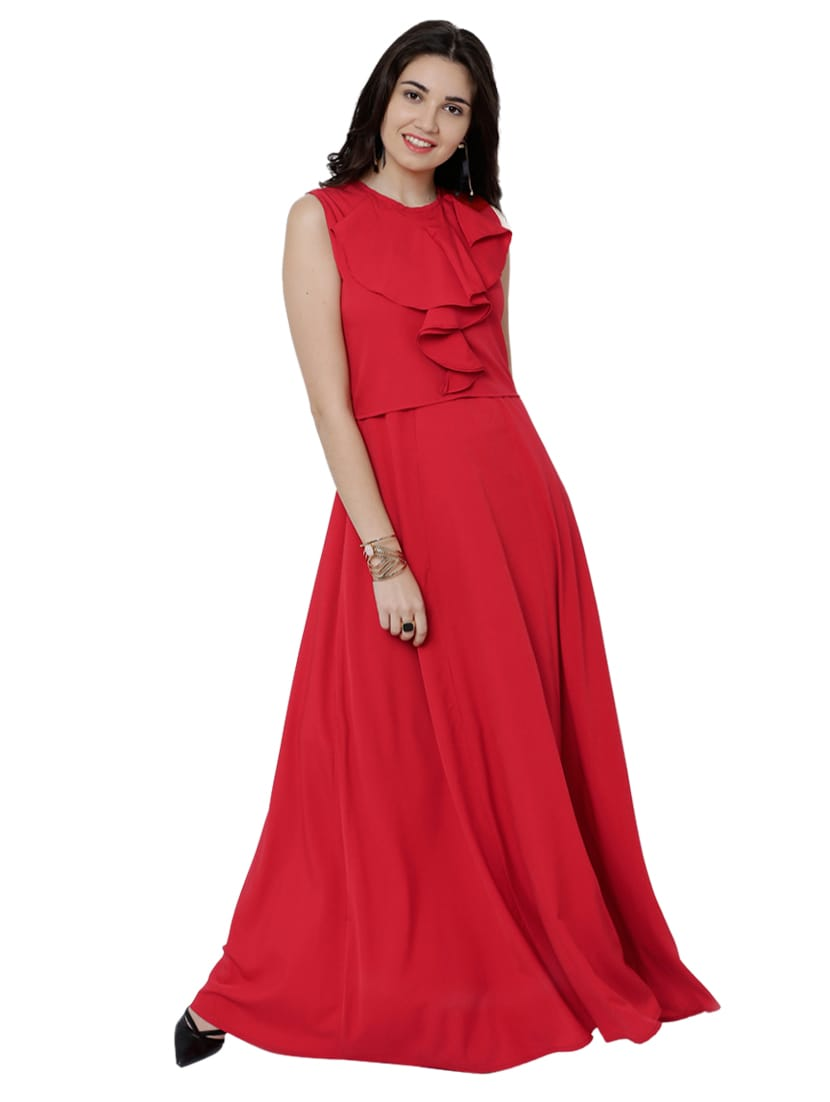 Buy Solid Red Gown Dress by Tokyo Talkies - Online shopping for ...