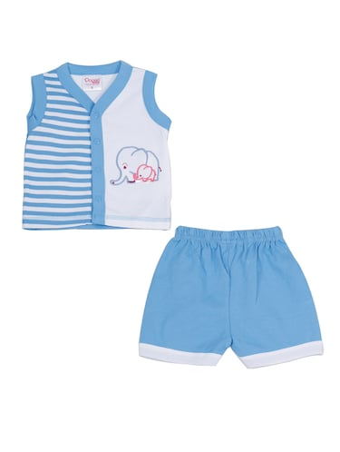 blue cotton shorts set - 14504271 - Standard Image - 1
