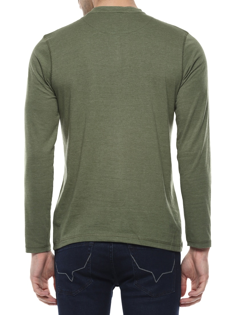 bea137e7c Buy Olive Green Cotton T-shirt for Men from Elaborado for ₹529 at 41% off |  2019 Limeroad.com
