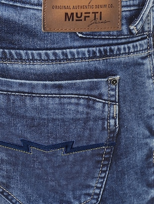 blue cotton washed jeans - 14504560 - Standard Image - 4